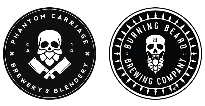 burning beard logo vs. phantom carriage logo to show similarities