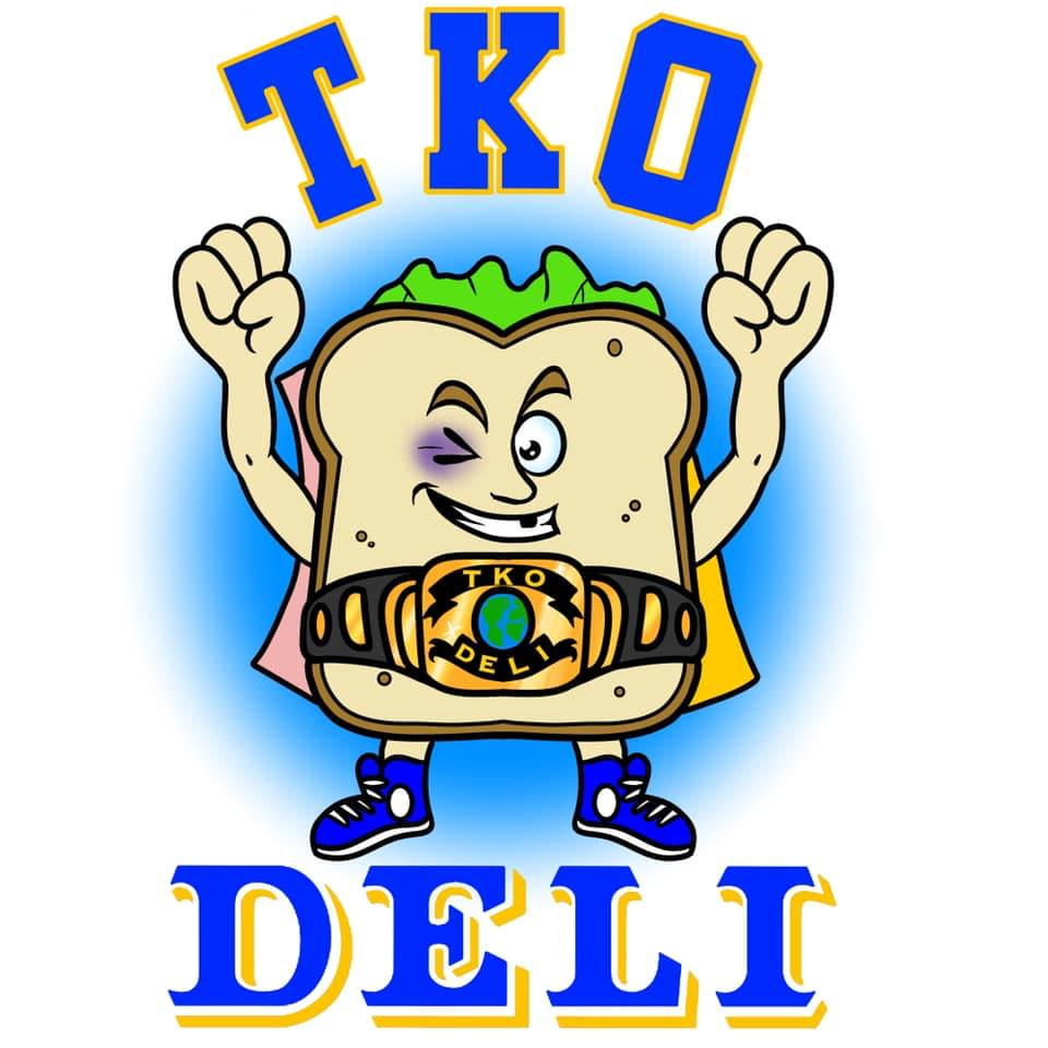 logo for TKO deli of a sandwich with arms
