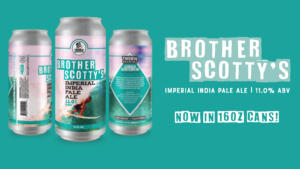 three cans of brother scotty's beer