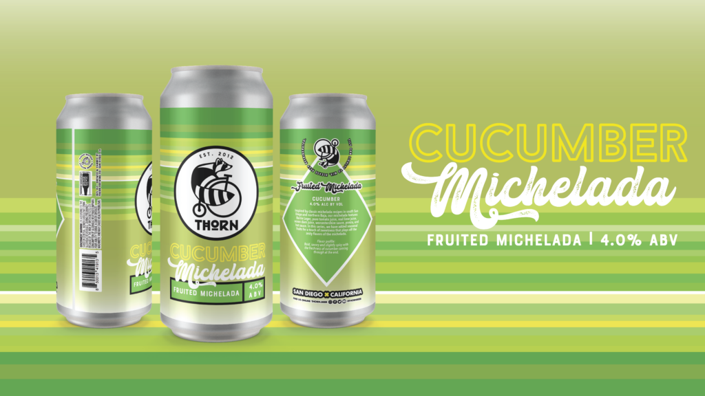 three cans of cucumber michelada on a green background
