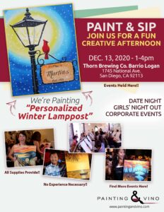 flyer fo a paint and sip class at thorn brewing