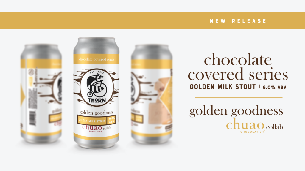 three cans of golden goodness milk stout in a beer graphic