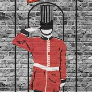 graphic for god save the cusine food truck. Brick background with british soldier in salo