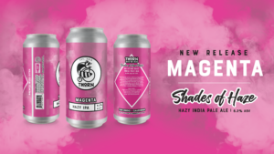 magenta hazy ipa beer can on a pink and smokey background