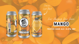 three cans of sour mango beer in orange and with pictures of mangos