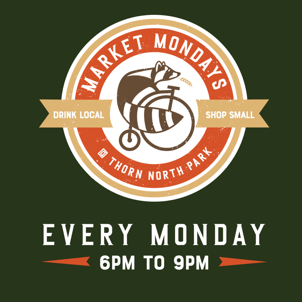 thorn logo of raccoon riding a bike on a dark green background with the words market monday