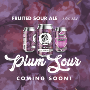 three cans of plum sour announcing it's release