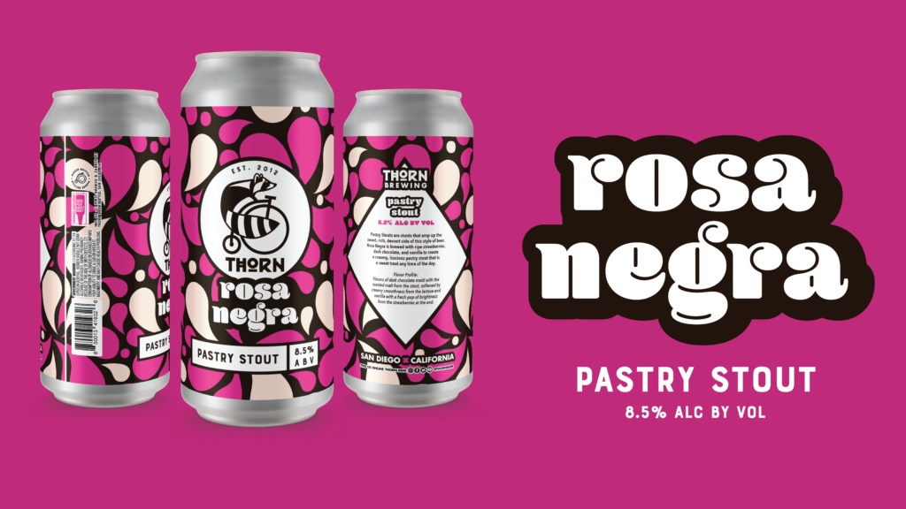 pink background with three beers cans named rosa negra