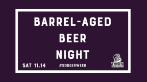 text saying barrel-aged beer night