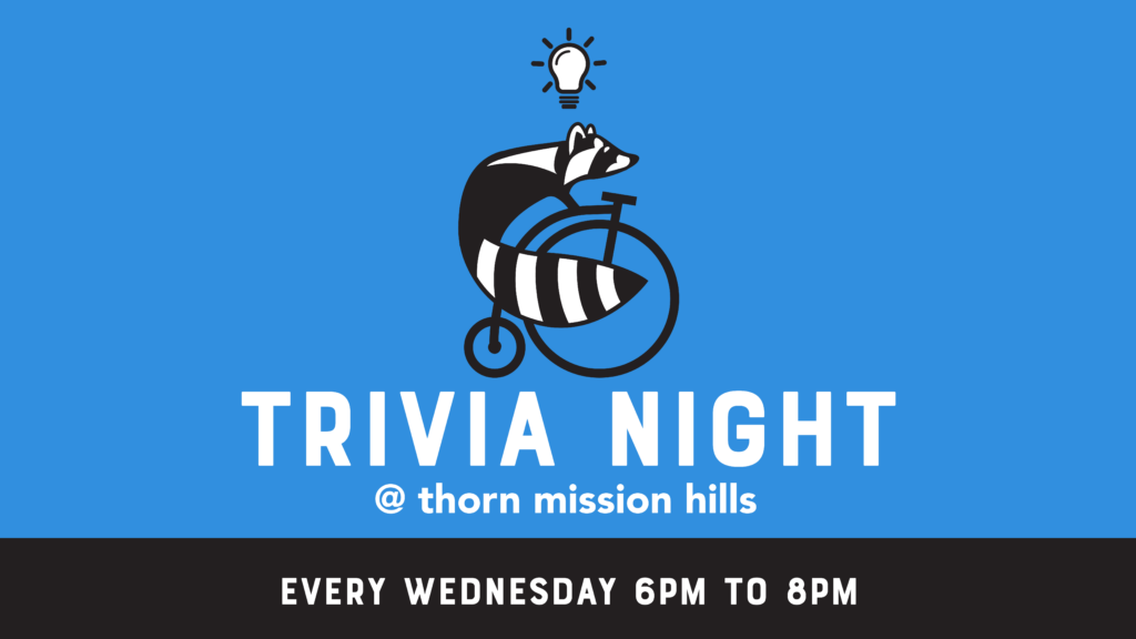 trivia night graphic in blue with a raccoon on a bike in the middle