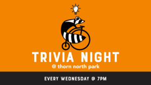 orange graphic with raccoon on a bike which is thorn's logo