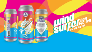multi colored can of beer called wind surfer