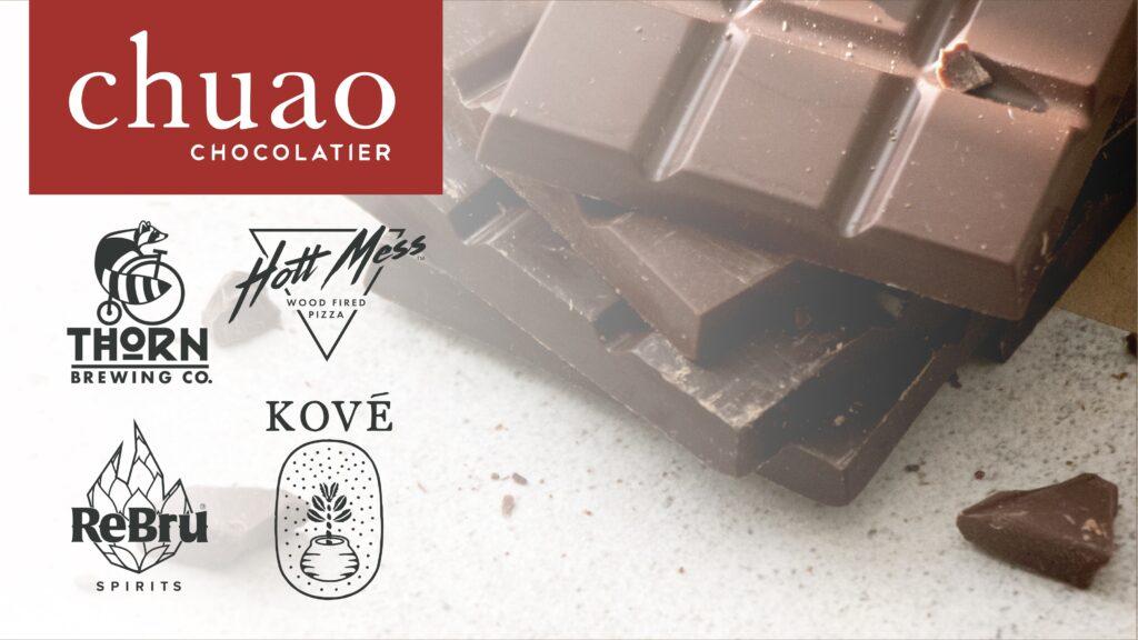 chocolate bars and logos for thorn, chuao, kove, rebur and hott mess