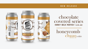 three cans of honeycomb milk porter on a white background